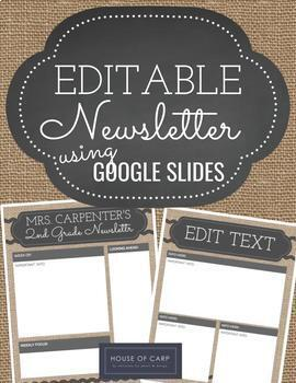 Google Slides Editable Newsletter - Burlap & Chalkboard