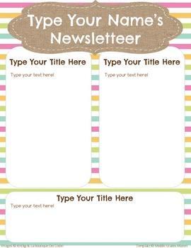 Google Slides Editable Newsletter -Burlap & Stripes