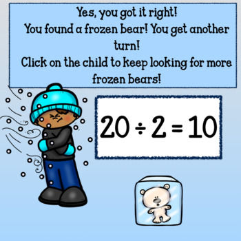 Interactive Division Games Google Slides- Winter Frolics with Facts