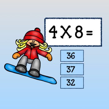 Interactive Multiplication Game - Google Slides-Winter Frolics with Facts