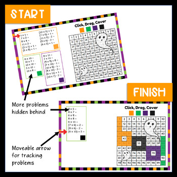 Halloween Multiplication Mystery Pictures 100 Chart Activity in Google Classroom