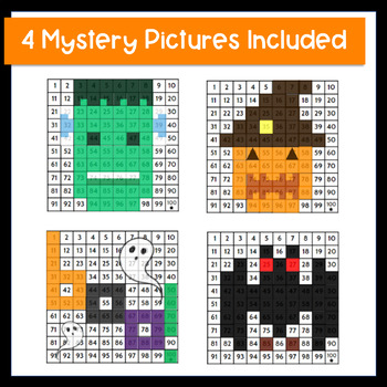 Halloween Mystery Pictures 100 Chart | Halloween Multiplication Color by Number