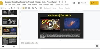 Google Slides: Historical Fiction Research and Writing Project