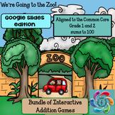 Interactive Math Game Google Slides Addition-Zoo Bundle su