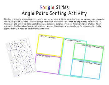 Google Slides Interactive Angle Pair Sorting Activity