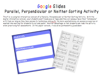 Google Slides Interactive Parallel, Perpendicular or Neither Sorting Activity