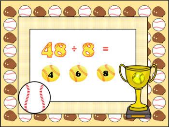 Google Slides Games-Math- Marty's Baseball Museum-Interactive Division Game