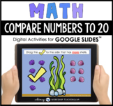 Google Slides Math Compare Numbers to 20 Shells Distance Learning