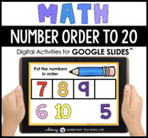 Google Slides Math Number Order To 20 Digital Activities D