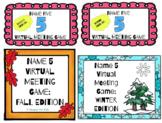 Google Slides Name Five Virtual Meeting Game: Four Seasons Bundle