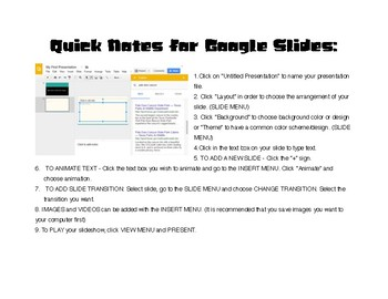 Google Slides: Notes and Presentation Planner