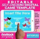 Google Slides PPT Game Template | Digital Editable Self-Checking | Butterflies