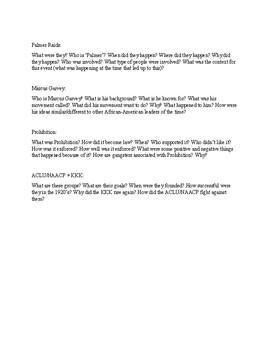 Google Slides/Powerpoint Presentation, 1920's, NAACP, Prohibition, Palmer