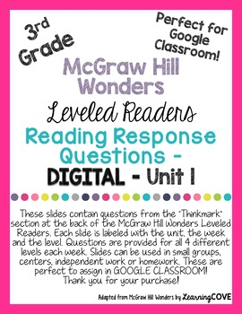 Google Slides Reading Response Questions for 3rd Grade Wonders McGraw Hill