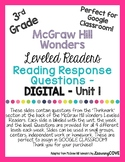 Google Slides Reading Response Questions - 3rd Grade Wonders McGraw Hill -Unit 1