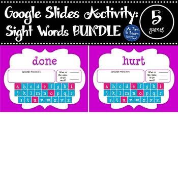 Google Slides Sight Words Activities: Word Value Addition for Dolch Words