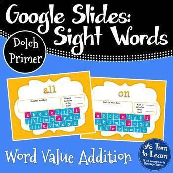 Google Slides Sight Words Activity: Word Value Addition (Dolch Primer Words)