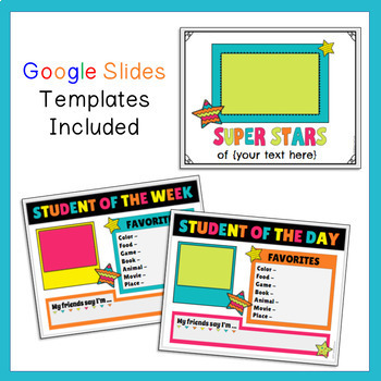 Google Student of the Day/Week Digital Posters and Class Book