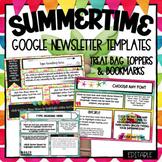 Google Slides- Summer / Beach Newsletter Teacher Templates