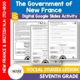 The Government of New France Grade 7 Google Slides Lesson & Printables