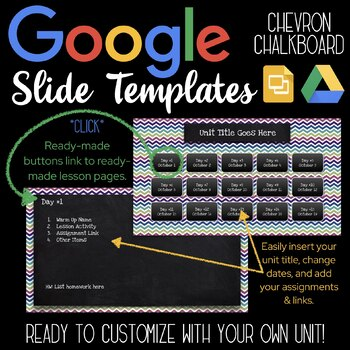 Google Slides Unit Template: Chevron Chalkboard