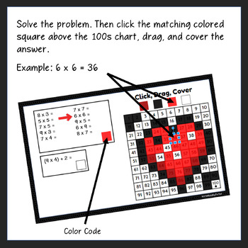 Valentine's Day Multiplication Mystery Picture Activities in Google Slides