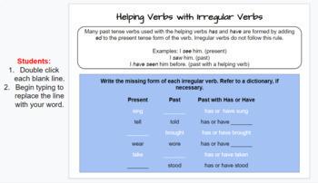 Google Slides Workbook: Verbs