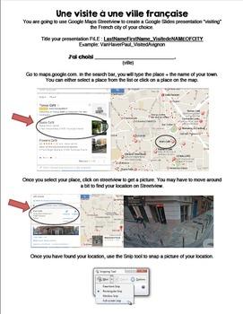 Visite virtuelle d'une ville française/Virtual visit & webquest of a French town