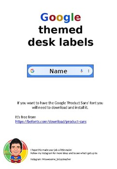 Google Themed Desk Labels