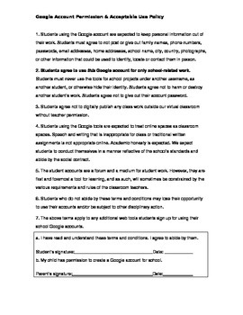Google Tools Acceptable Use Policy and Permission Slip