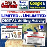 """Google   Types of Government """"You Rule"""" Digital Writing Activity & Rubric"""