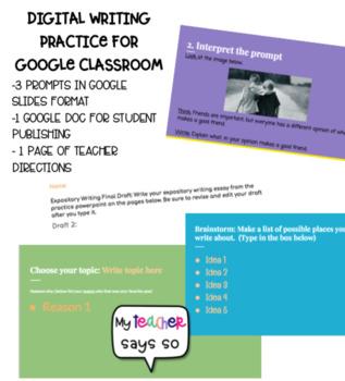 Google classroom- Digital Expository Writing Practice #tptdigital