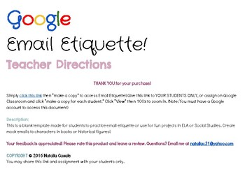 Google Email Etiquette! OR use to email characters/historical figures!