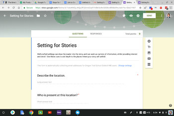 Google form for setting in a short story.