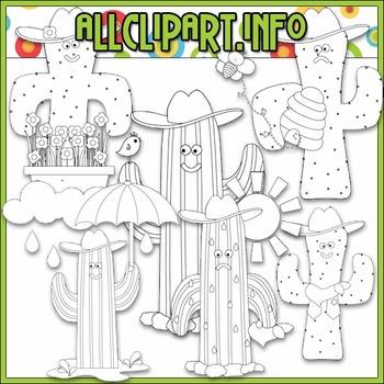 BUNDLED SET - Googley Eyed Cowboy Cactus Clip Art & Digital Stamp Bundle
