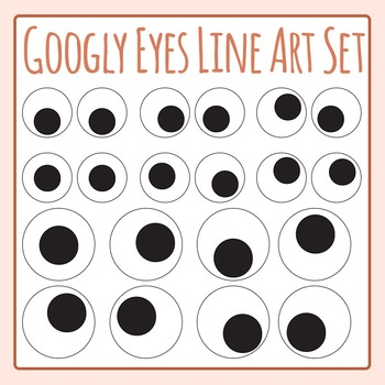 Googly Eyes Goggly Eyes Black and White Line Art / Clip Art Commercial Use