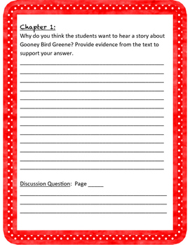 Gooney Bird Greene Comprehension Questions