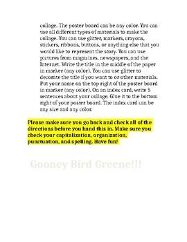Gooney Bird Greene Project Internal and External Character Traits