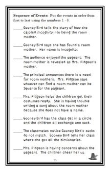 Gooney Bird and the Room Mother (Lois Lowry) Novel Study / Reading Comprehension