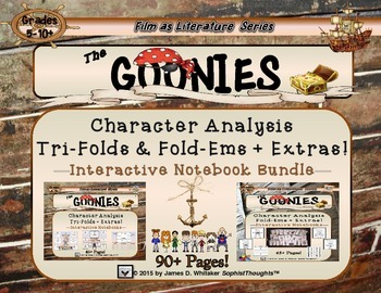 Goonies Film Character Analysis Tri-Folds and Mini Fold-Ems Bundle
