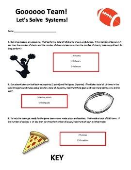 Gooooo Team! Let's Solve Systems