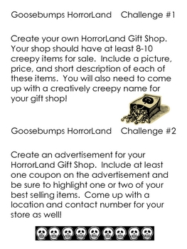 Goosebumps Challenges and Graphic Organizers, for ANY of the books!