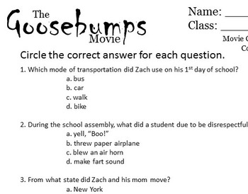 Goosebumps Movie- Comprehension Questions, Movie Guide