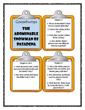 Goosebumps THE ABOMINABLE SNOWMAN OF PASADENA * Discussion Cards