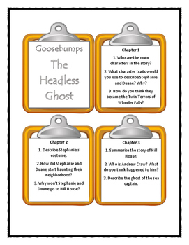 Goosebumps THE HEADLESS GHOST - Discussion Cards