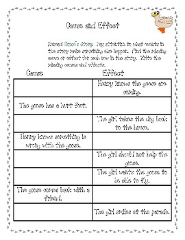 Goose's Story Common Core Activities