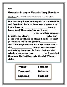 Goose's Story Vocabulary Review Sheet - 2nd Grade Treasures