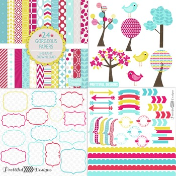 Gorgeous Digital Paper and Bird Clip Art Digital Frame Kit Commercial Use