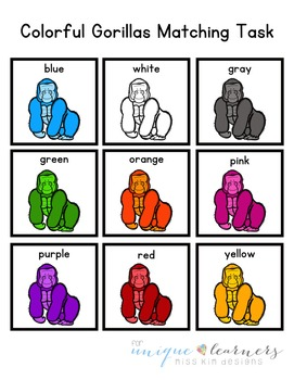 Gorilla Color Matching Folder Game for Early Childhood Special Education