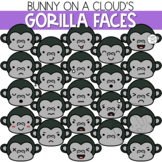 Gorilla Faces Clipart by Bunny On A Cloud